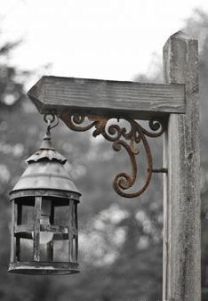 Lantern with iron bracket