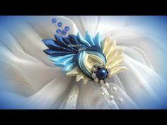 DIY how to make Brooch, satin ribbon, kanzashi - YouTube