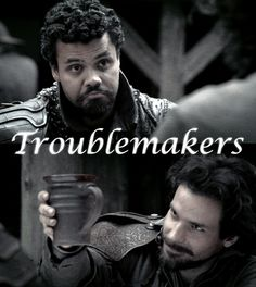 """The Musketeers - Pothos & Aramis Lol How will we pay the entrée fee? """"Let's go find us some patrons! Bbc Musketeers, The Three Musketeers, Howard Charles, Luke Pasqualino, Tom Burke, Bbc Tv Series, Bbc America, Thats The Way, Dream Guy"""