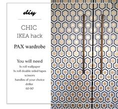 """This quick and easy IKEA hack will require minimum effort but is guaranteed to have big impact. With brand new Cole and Son Hicks' Hexagon wallpaper on the classic PAX wardrobe, it is guaranteed to make everyone go """"WOW!!"""" read more on the blog www.seasonsincolour.com  #boudoir #makeuproom interiors interior styling makeover IKEA HACK, PAX upcycle"""