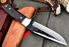 CFK USA Custom Handmade Rustic Hammer Forged D2 Black Camel Bone Hunter Knife G