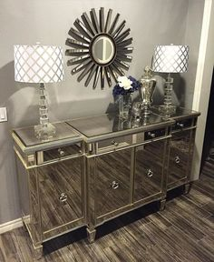 Dream decor dreamhouse mirror buffet, home decor и entryway Diy Home Furniture, Mirrored Furniture, Living Room Furniture, Living Room Decor, Bedroom Decor, Mirrored Dresser, Dining Room, Furniture Stores, Diy Wohnmöbel