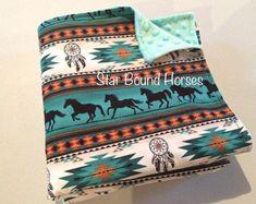 Navajo Minky Baby Blanket Teal Baby Blanket Western Baby - Baby H Cotton Baby Blankets, Minky Baby Blanket, Western Nursery, Western Baby Bedding, Cowgirl Nursery, Western Babies, Nursery Bedding, Gray Bedding, Baby Girl Bedding