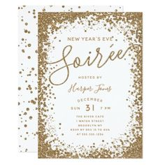 Rose Gold Glitter  New Year's Eve Party Invitation - invitations personalize custom special event invitation idea style party card cards