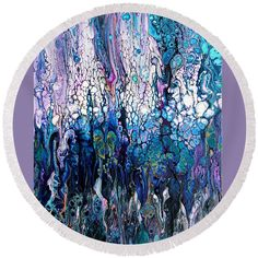 """Wave Traces #2414 Round Beach Towel by Expressionistart studio Priscilla Batzell.  The beach towel is 60"""" in diameter and made from 100% polyester fabric."""