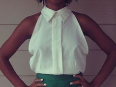 DIY: Turn a Button-Down into a Cute Sleeveless Blouse | Lovelyish - blouses, off shoulder, yellow, striped, collar, choli blouse *ad