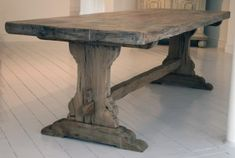 Stunning Trestle table made with reclaimed oak. Made to order.