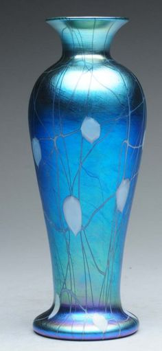 Durand Blue Lustre Hanging Hearts Art Glass Vase. : Lot 1190 1200
