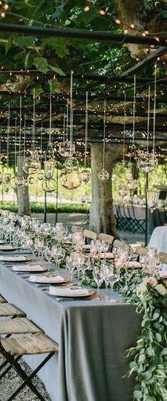 Beautiful hanging decor at this wedding reception #weddingdecor #weddingdecorinspo #weddingreception