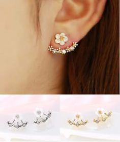 Le Perla Floral Gold/Silver Double Side White Flower Earrings