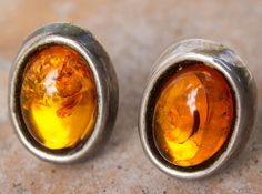 Vintage Honey Amber Sterling Silver Clip On Earrings Artist Stamped