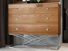 Commode à 3 tiroirs en noyer et piétement en acier inox. Mod. ACIER Dresser, Furniture, Home Decor, Dressers, Drawers, Decorative Glass, Powder Room, Stained Dresser, Interior Design