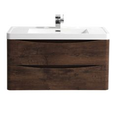Ronda Chestnut 900mm Wide Wall Mounted Vanity Unit Large Image