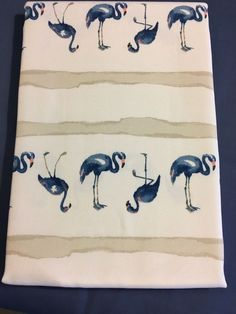 Cynthia Rowley Blue Flamingo on white cotton Tablecloth various sizes/ shapes Outdoor Tablecloth, Cynthia Rowley, Abstract Print, White Cotton, Flamingo, Outdoors, Shapes, Prints, Blue
