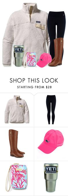 """""""Only one class today"""" by preppycarolinacutie ❤ liked on Polyvore featuring Patagonia, NIKE, Tory Burch, Vineyard Vines, Lilly Pulitzer, women's clothing, women, female, woman and misses"""