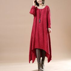Women red Casual Loose Cotton Dress