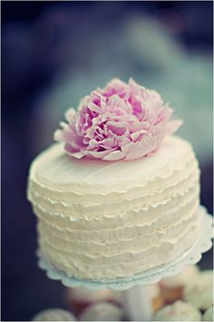 Beautiful Cake Pictures: Pretty Ruffled White Cake With Pink Flower - Cakes with Frills, Flower Cake, Little Cakes - Pretty Cakes, Beautiful Cakes, Amazing Cakes, Beautiful Things, Fancy Cakes, Mini Cakes, Girly Cakes, Cake Toppers, Ruffle Cake