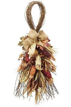 "Full of everything ""fall,"" this swag is the perfect decoration for a door or… Thanksgiving Wreaths, Fall Wreaths, Christmas Wreaths, Christmas Crafts, Outside Fall Decorations, Harvest Decorations, Fall Crafts, Decor Crafts, Indian Corn Wreath"