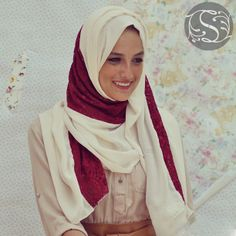 Elegance - Offwhite with Red lace in the middle from Foulard فولار ..Now you can get it at http://www.stylana.com/  #stylana #style #jeddah #ksa #kuwait #oman #dubai #uae #muscat #qatar #q8 #abudhabi #riyadh