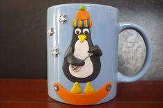Gitározó pingvin hóesésben  - névtáblás bögre