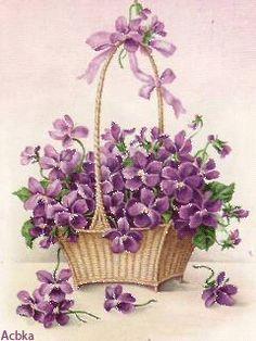 A painted illustration of a basket of overflowing violet flowers. How sweet. Vintage Pictures, Vintage Images, Illustration Blume, Sweet Violets, Decoupage Paper, Vintage Greeting Cards, Pansies, Lilacs, Vintage Paper
