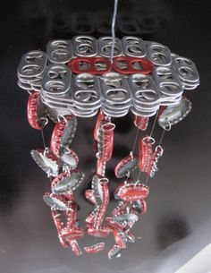 Red Soda Themed Bottle Cap Wind Chime by DabblingHabits on Etsy, $40.00