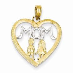 """mom with kids"" heart charm or pendant. Solid 14k yellow gold&rhodium. We are a family owned fine jewelry store in Southern Indiana. We buy and sell gold, diamonds, watches, coins, currency, and fine luxury items of value."