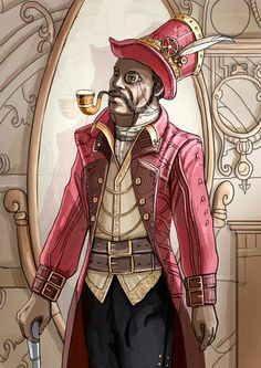 Another steampunk character from our new card game, Scrapyard Empire! This fine gentleman is Tom Rocketfeller. For more details about him and other characters check out our project page - http://www.scrapyardempire.com  #steampunkfashion #steampunkgame