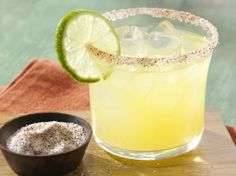 Triple citrus (orange, lemon, lime) margarita with a smoky chile salt rim. Chile salt is hand mixed with fine sea salt, ancho and chipotle chile powders.