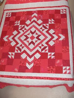 Geometric Patchwork Queen Quilt red white  by MooseCarolQuilts