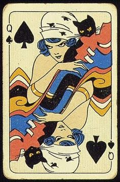 Vintage Illustration The Queen of Spades. with her black cat. Vintage IllustrationSource : The Queen of Spades. with her black cat. Playing Cards Art, Vintage Playing Cards, Playing Card Design, She And Her Cat, Image Chat, Queen Of Spades, Art And Illustration, Vintage Illustrations, Deck Of Cards