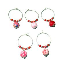 Pink and Red Round Polymer Clay Wine Charms by CloudNineDesignz, $18.00