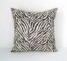 Zebra Pillow Cover Brown Pillow Animal Print by BlossomPillowCo, $17.00