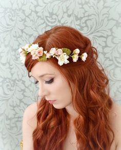 Spring flower crown, pink and ivory floral headband, bridal head piece, hair garland, wedding accessory