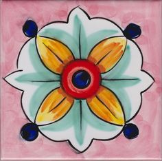 Piastrella Le Vietresi 65 Painting Ceramic Tiles, Pottery Painting, Mosaic Tiles, Islamic Patterns, Vintage Tile, Handmade Tiles, Mosaic Designs, Mexican Folk Art, Mandala Art