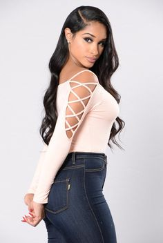 Available in Taupe and Peach Long Sleeve Lace Up Detail Bodysuit Thong Bottom Snap Button Closure Made in USA Final Sale Rayon Spandex Going Out Outfits, Cute Outfits, Cute Bodysuits, Dress Skirt, Bodycon Dress, Bodysuit Fashion, Long Sleeve Bodysuit, Cheap Dresses, Peach