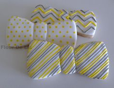 Bow Tie Cookies~ by Flour De Lis, chevron, polka dot, stripes, yellow grey Bow Tie Cookies, Man Cookies, Iced Cookies, Sugar Cookies, Panda Party, Baby Boy 1st Birthday, Red Wagon, Beautiful Desserts, Cakes For Men