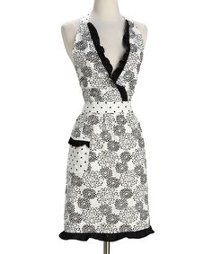 Take a look at this Design Imports Black Dahlia Apron - Adult by Black & White: Kitchen Essentials on #zulily today!