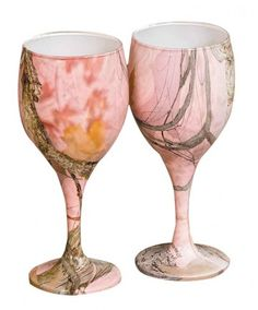Pink Camouflage Wine Glasses - to help hide your alcoholism