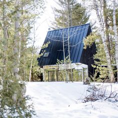 Lake Cottage is an extension to a woodland home in Ontario by Canadian studio UUfie, featuring charred cedar walls and a mirrored entrance. Ontario Cottages, Mirror House, Mirror Walls, Mirrors, Cedar Walls, Building A Cabin, Lake Cottage, Cabins And Cottages, Cool Landscapes