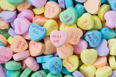 Sweethearts candies help romantics send love notes via little candy hearts in a subtly sweet palette that adds yellow, blue, green tangerine, and mauve to the Valentine's colour mix.