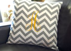 Monogrammed Pillow Chevron Pillow Cover by FestiveHomeDecor, $35.00