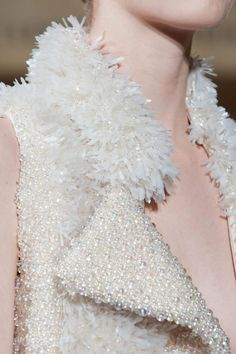 Embellished dress with clear iridescent stones and smooth & rough texture mix; couture fashion details // Bouchra Jarrar