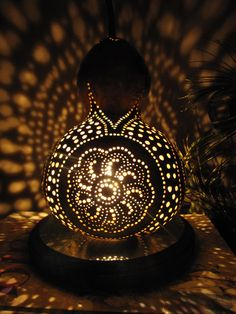 Moroccan Sunset Gourd lamp by TheGoldenGourd on Etsy, $75.00