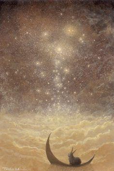 Winter Solstice illustration obtain Lapin Art, Arte Peculiar, Rabbit Art, Bunny Art, Fairytale Art, Art And Illustration, Fairy Art, Moon Art, Pics Art