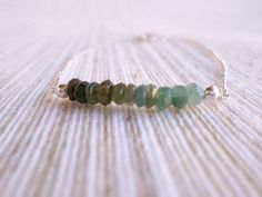 ombre Green Tourmaline Bar necklace Sterling by DolceStilNovoLab