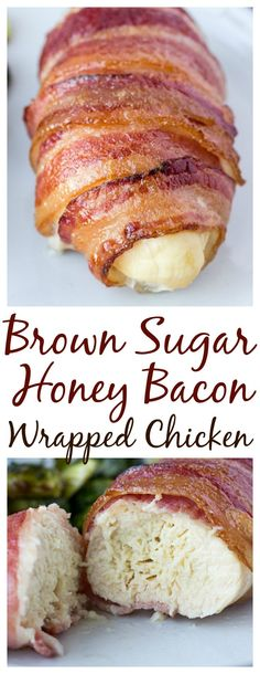 Brown Sugar Honey Bacon Wrapped Chicken Breasts are sweet, juicy, and incredibly easy to make! | #bacon #baconwrappedchicken #chickenrecipe #baconwrapped #dlbrecipes