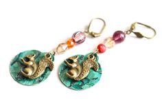 Squirrel Earrings Exotic Leather Earrings by MusingTreeStudios, $18.99
