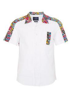 WHITE SHORT SLEEVE CONTRAST PANEL SHIRT - Topman price: £30.00