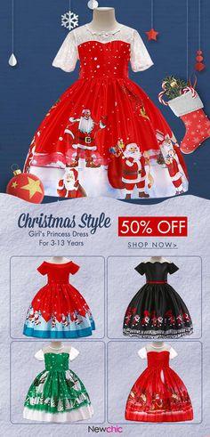 Christmas Pattern Girls Short Sleeve Princess Dress For is cheap 148133fd1